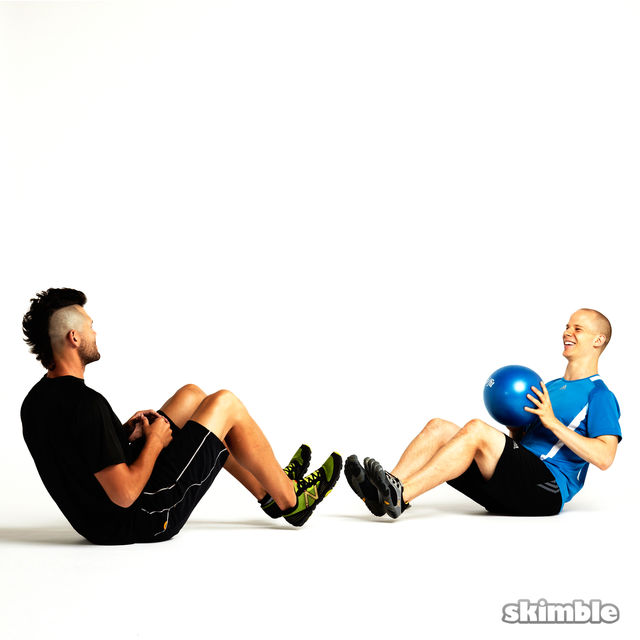 How to do: Seated Ball Toss with Partner - Step 3