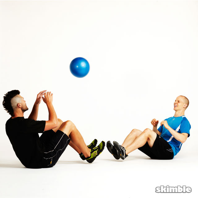 How to do: Seated Ball Toss with Partner - Step 4