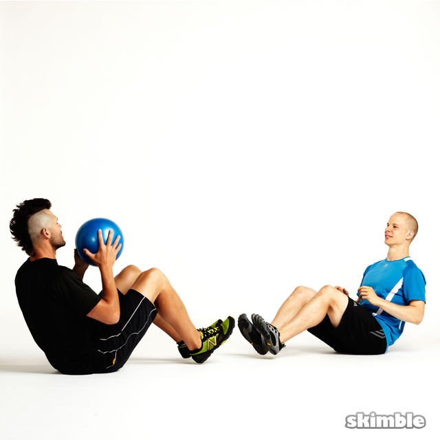 Seated Ball Toss with Partner - Exercise How-to - Workout ...