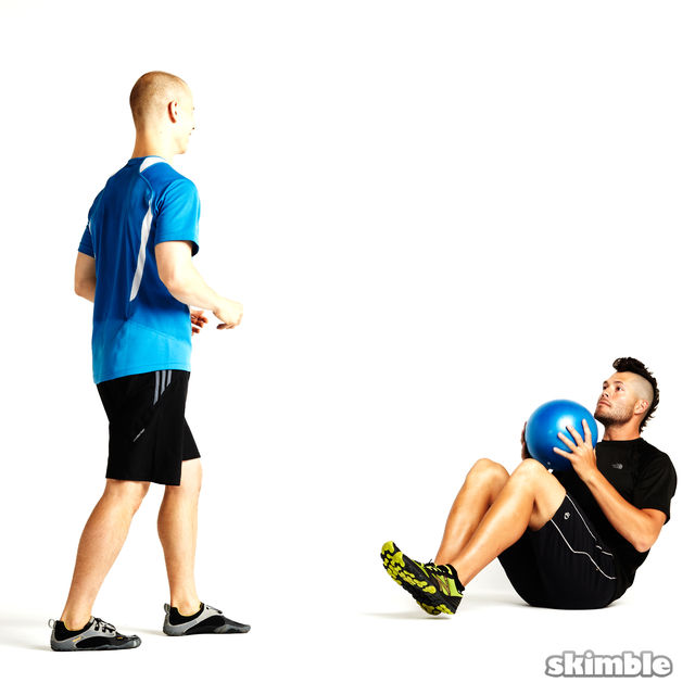 How to do: Seated Ball Toss with Standing Partner - Step 1