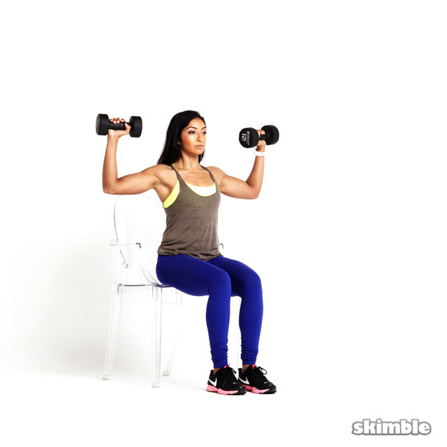 Seated Dumbbell Press - Exercise How-to | Workout Trainer by Skimble ...