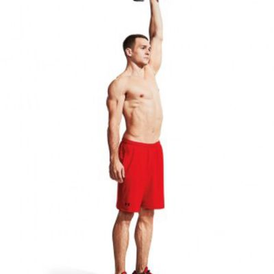 LEFT-ARM, ELBOW-IN DUMBBELL OVERHEAD PRESS