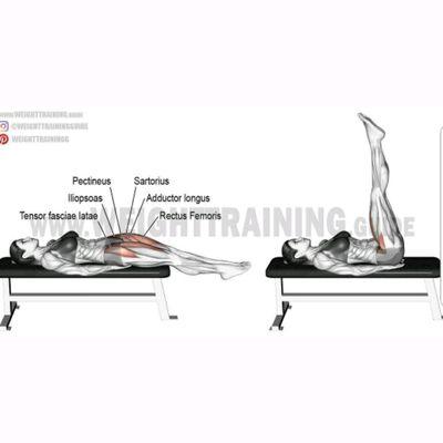 Flat bench leg raises
