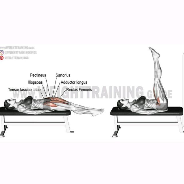 Flat Bench Leg Raises Exercise How To Workout Trainer