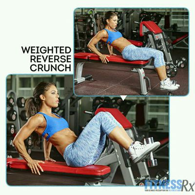 Weighted Reverse Crunch On A Bench
