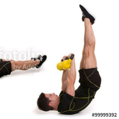 Lying Leg Raises with Kettlebell