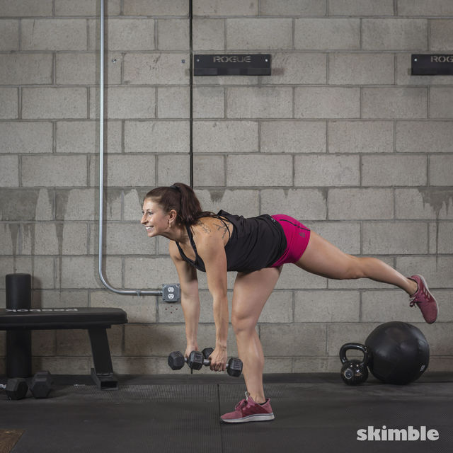 How to do: Dumbbell Single Leg Seesaws - Step 18