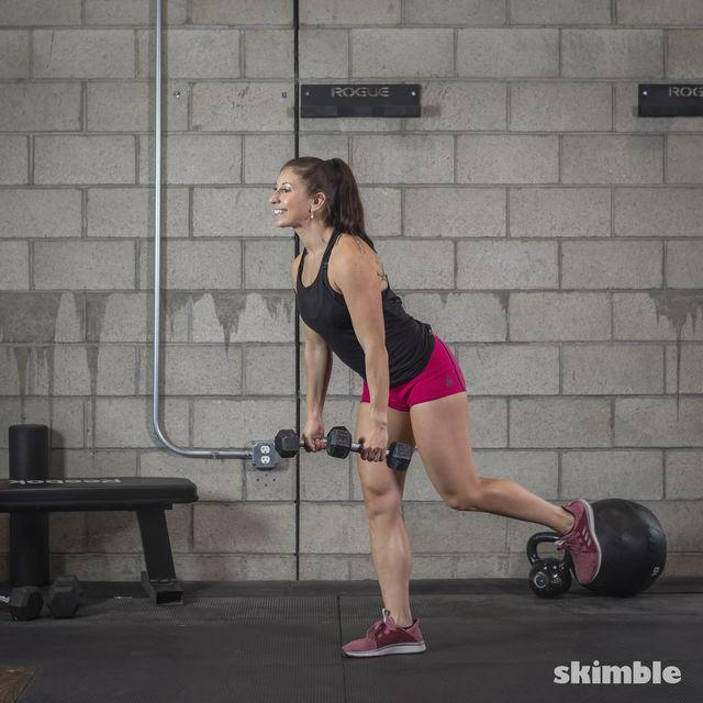 How to do: Dumbbell Single Leg Seesaws - Step 17