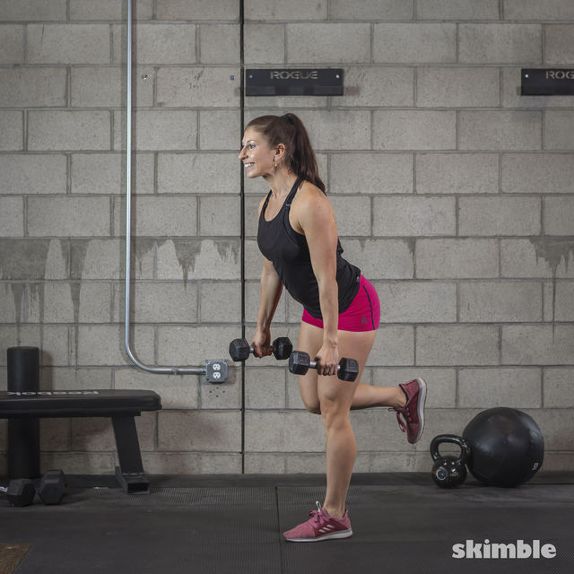 How to do: Dumbbell Single Leg Seesaws - Step 14