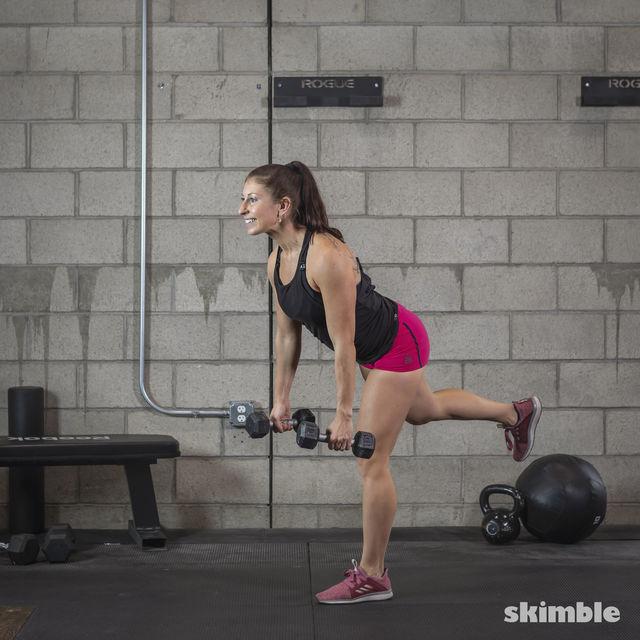 How to do: Dumbbell Single Leg Seesaws - Step 13