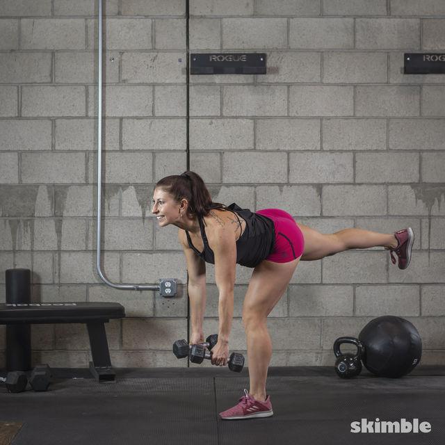 How to do: Dumbbell Single Leg Seesaws - Step 12