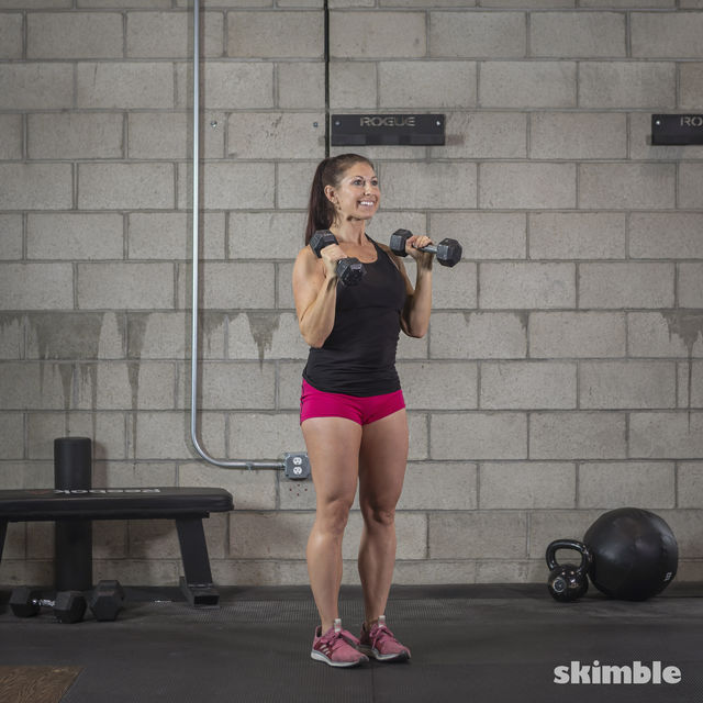 How to do: Dumbbell Hammer Curl to Press - Step 17