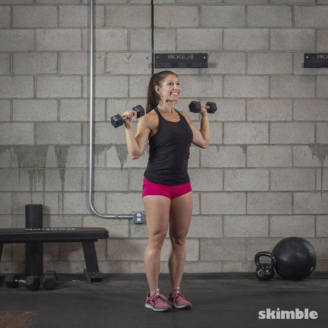 How to do: Dumbbell Hammer Curl to Press - Step 16