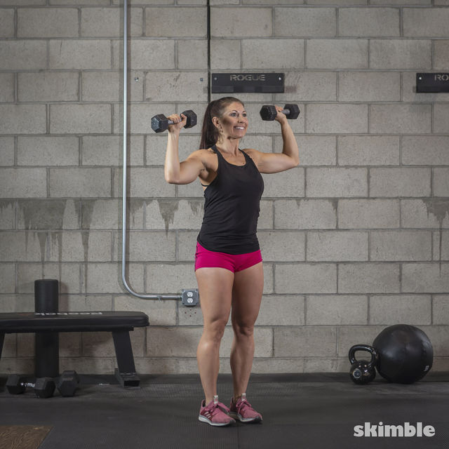 How to do: Dumbbell Hammer Curl to Press - Step 15