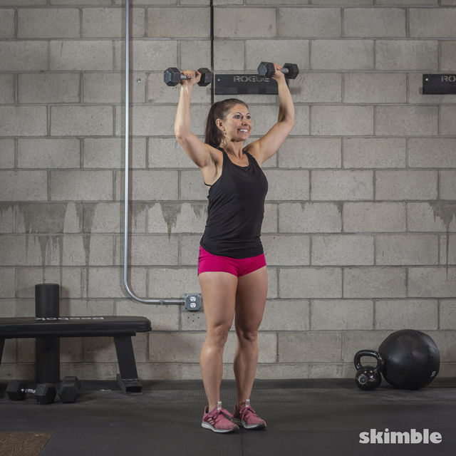 How to do: Dumbbell Hammer Curl to Press - Step 14