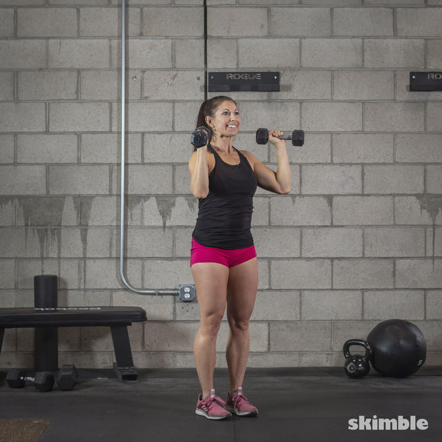 How to do: Dumbbell Hammer Curl to Press - Step 8