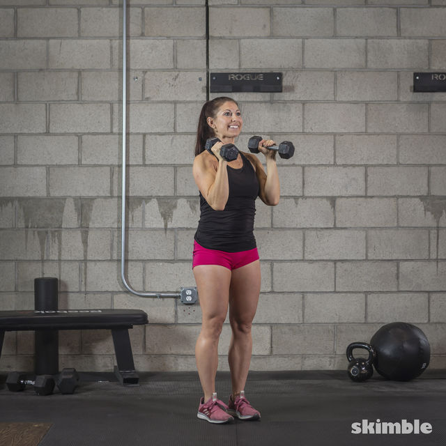How to do: Dumbbell Hammer Curl to Press - Step 2