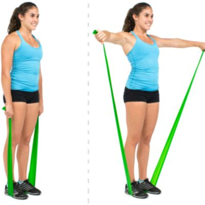 Lateral Raises With Band Under Feet