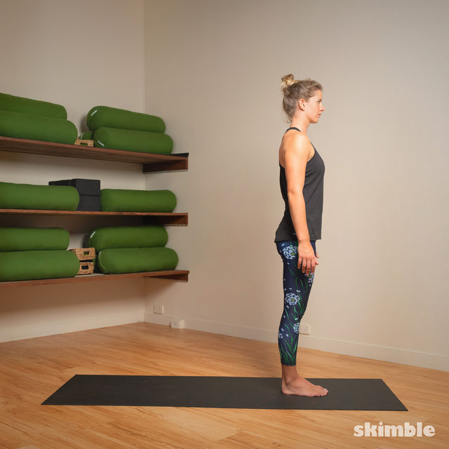 How to do: Standing Separate Leg Stretching Pose - Step 1