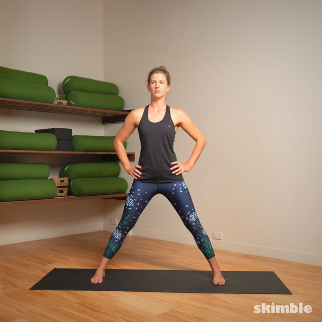 How to do: Standing Separate Leg Stretching Pose - Step 2