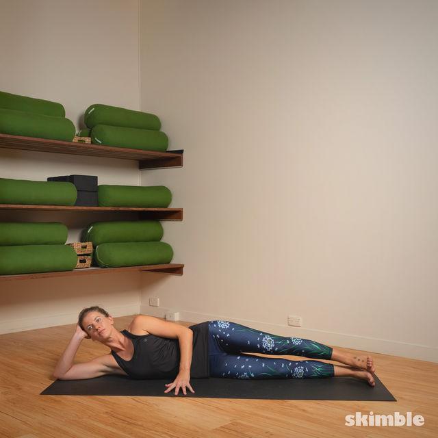 How to do: Lying Left Leg Stretch - Step 1