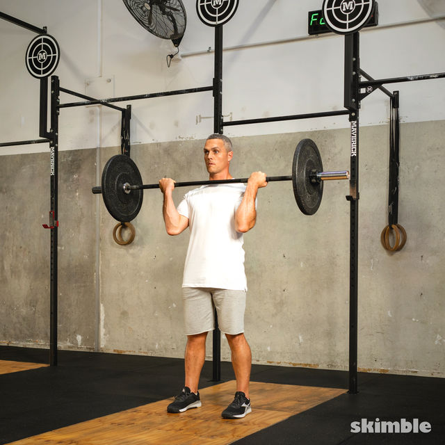 How to do: Barbell Bicep Curl to Press - Step 9