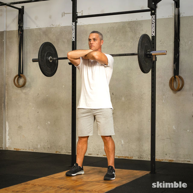 How to do: Front Barbell Squat Cross Arms - Step 4
