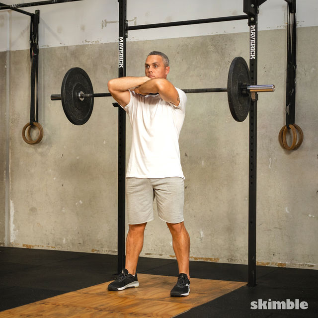 How to do: Front Barbell Squat Cross Arms - Step 6