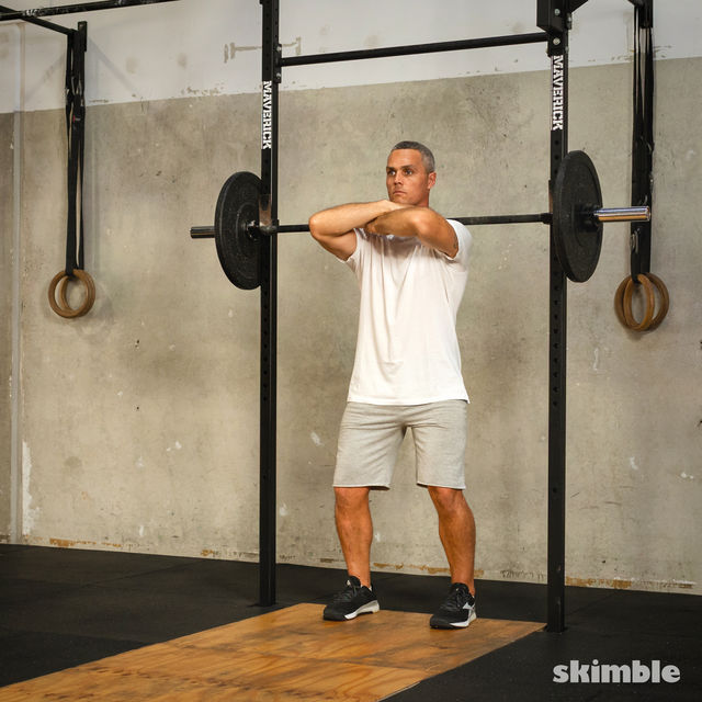 How to do: Front Barbell Squat Cross Arms - Step 7