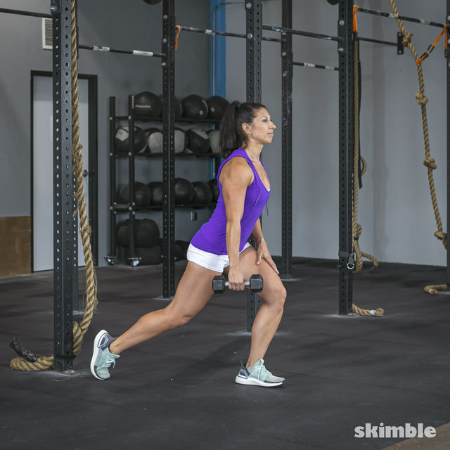 How to do: Left Lunge With Right Rows - Step 2