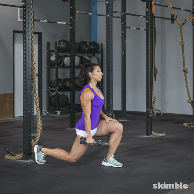 How to do: Left Lunge With Right Rows - Step 5
