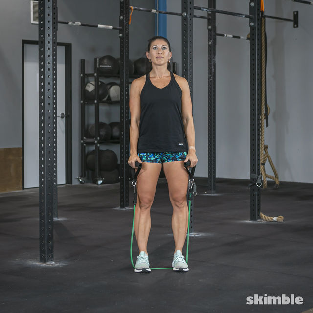 How to do: Lateral Shoulder Raises with Band - Step 1