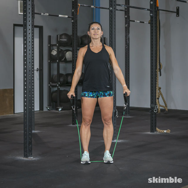 How to do: Lateral Shoulder Raises with Band - Step 2