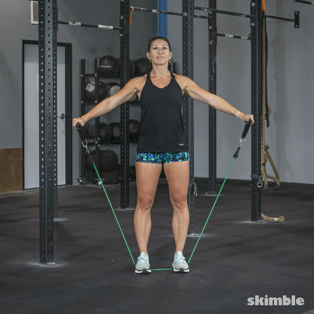 How to do: Lateral Shoulder Raises with Band - Step 3