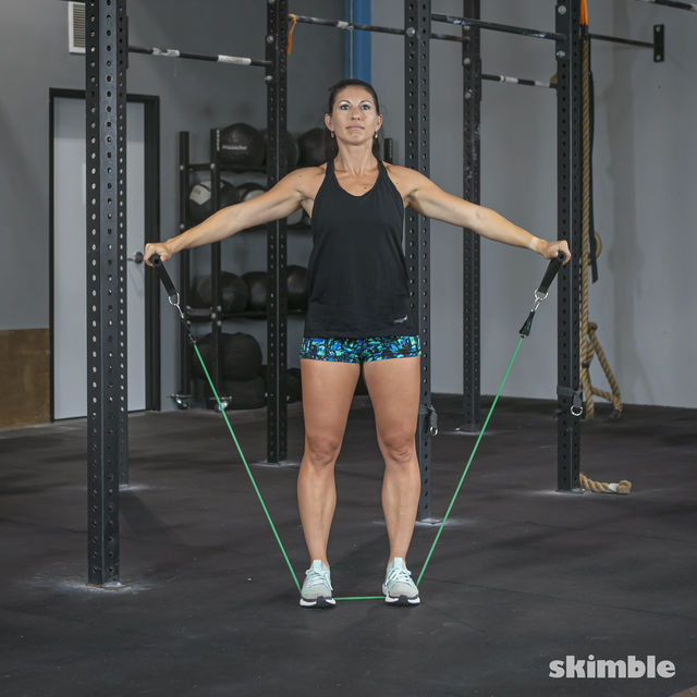 How to do: Lateral Shoulder Raises with Band - Step 5