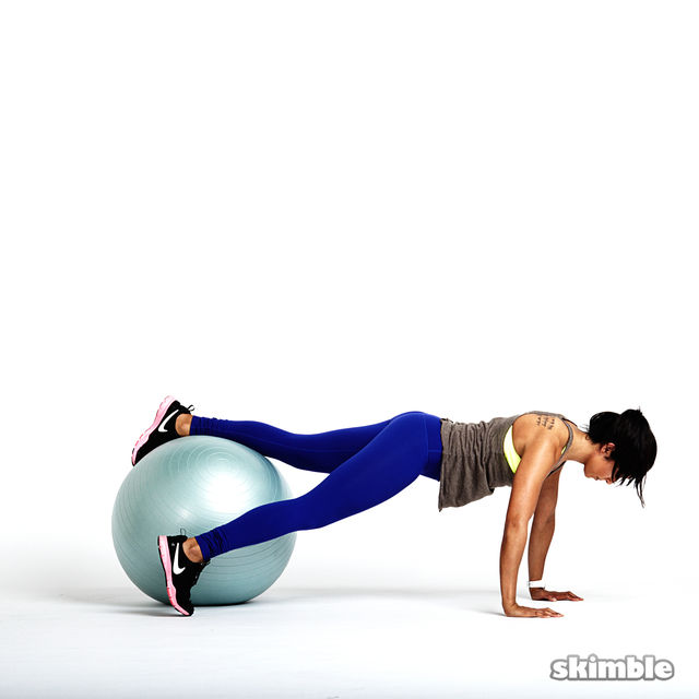 How to do: Stability Ball Plank with Tap Offs - Step 1