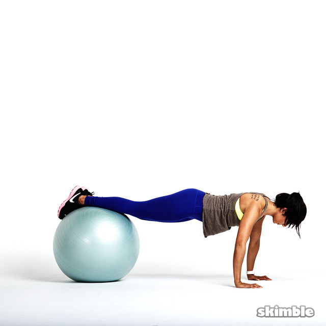 How to do: Stability Ball Plank with Tap Offs - Step 4