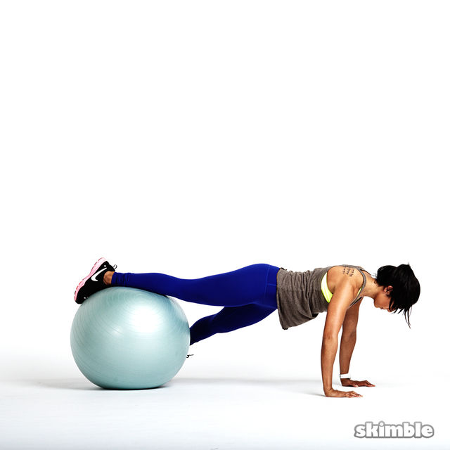 How to do: Stability Ball Plank with Tap Offs - Step 3