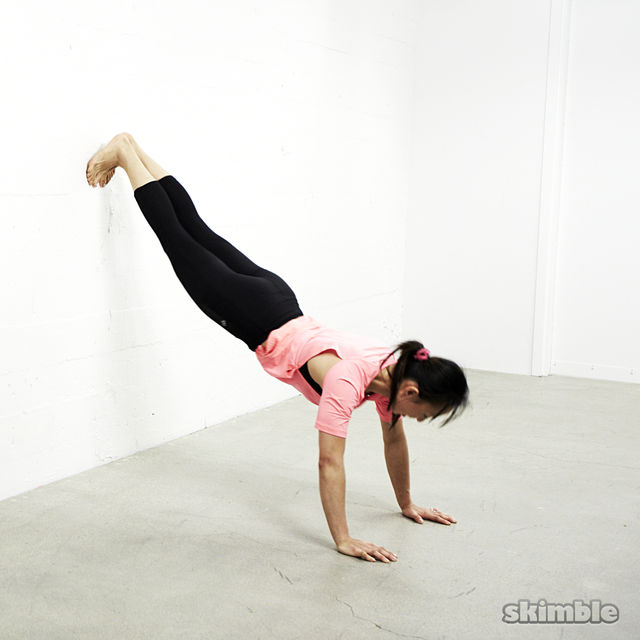 How to do: Feet on Wall Push-Ups - Step 2
