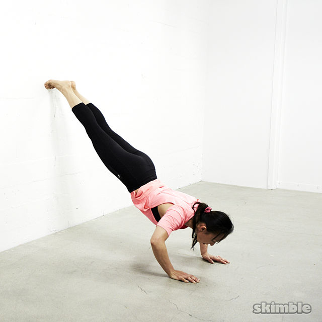 How to do: Feet on Wall Push-Ups - Step 1