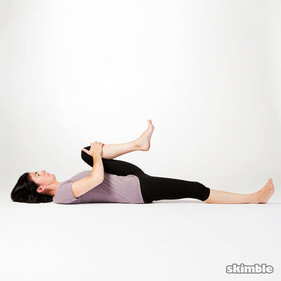 Lying Left Hamstring Stretches