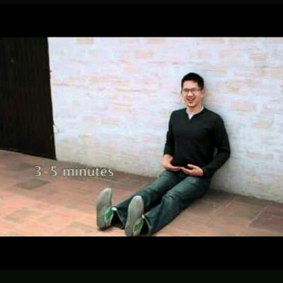 Sitting Floor (against Wall).Toes Pointing Up, Back, Legs, Feet Aligned, Shoulders Down.