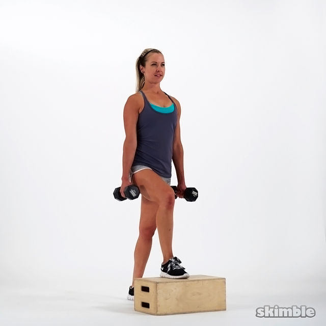 How to do: Dumbbell Bench Step Ups - Step 2