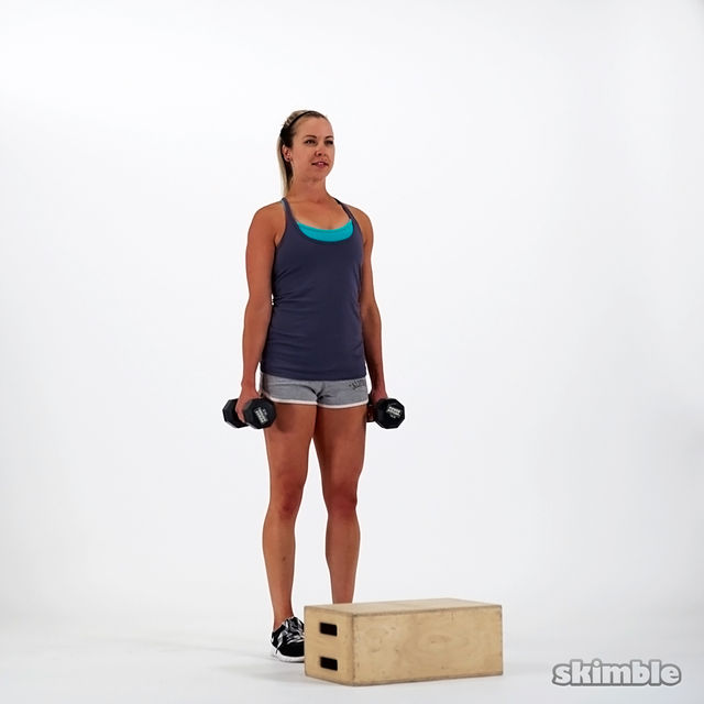 How to do: Dumbbell Bench Step Ups - Step 1