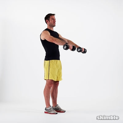 Dumbbell Front Raise And Extended Arm Bicep Curl