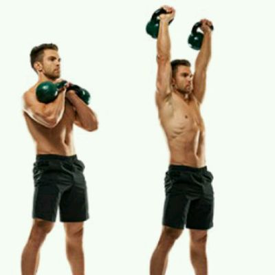 Duble Kettlebell Clean And Push Press