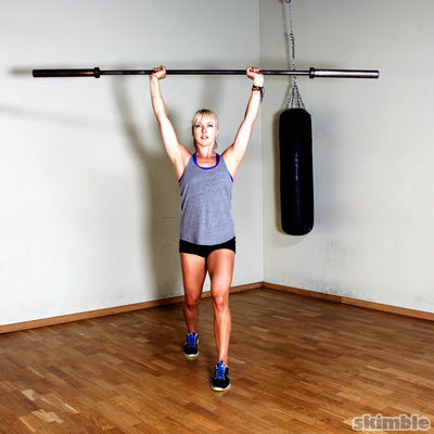 Split Stance Barbell Shoulder Press
