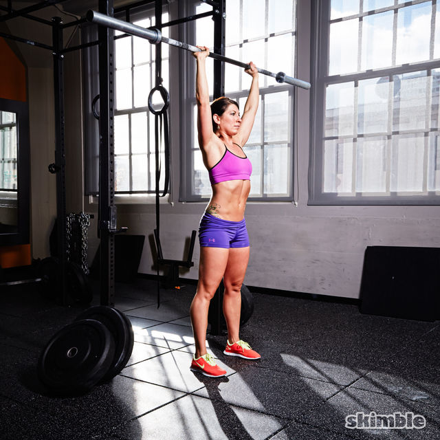 How to do: Barbell Reverse Curl to Press - Step 7