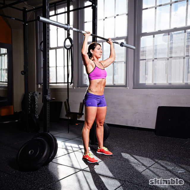 How to do: Barbell Reverse Curl to Press - Step 6