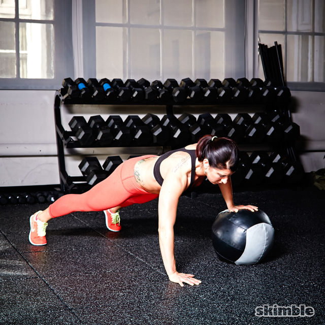 How to do: Medicine Ball Offset Push-Ups - Step 6